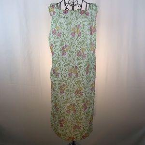Talbots sheer floral sleeveless sheath dress 24W